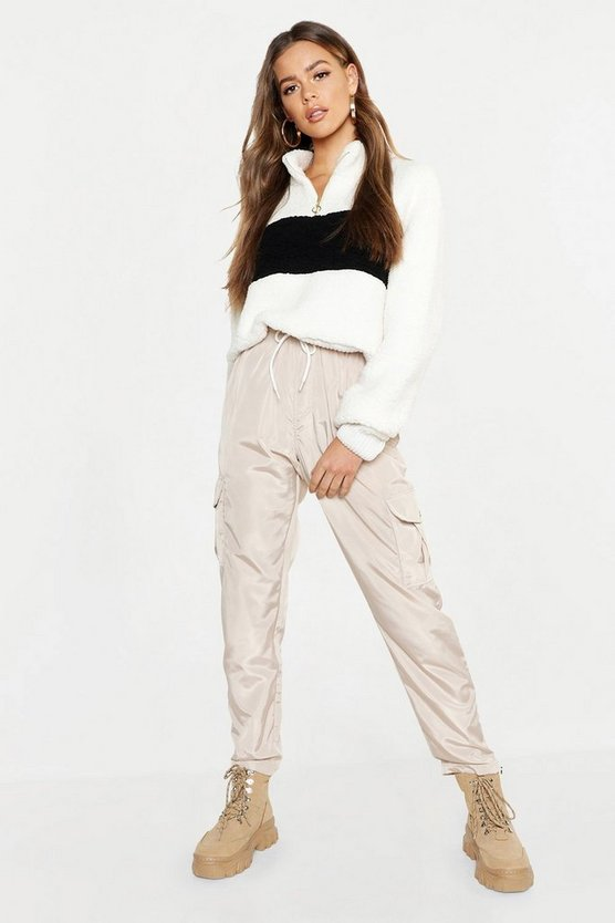 Womens Ivory Zip Crop Knitted Borg Jumper
