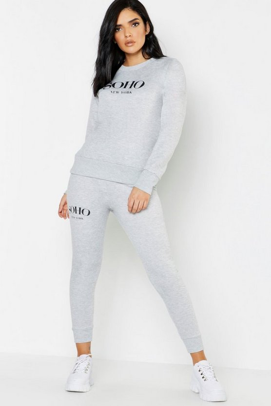 Womens Grey Soho Slogan Jogger