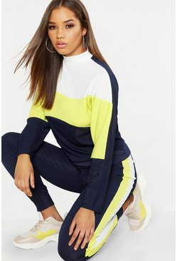 Womens Navy Neon Contrast Panel High Neck Sweater