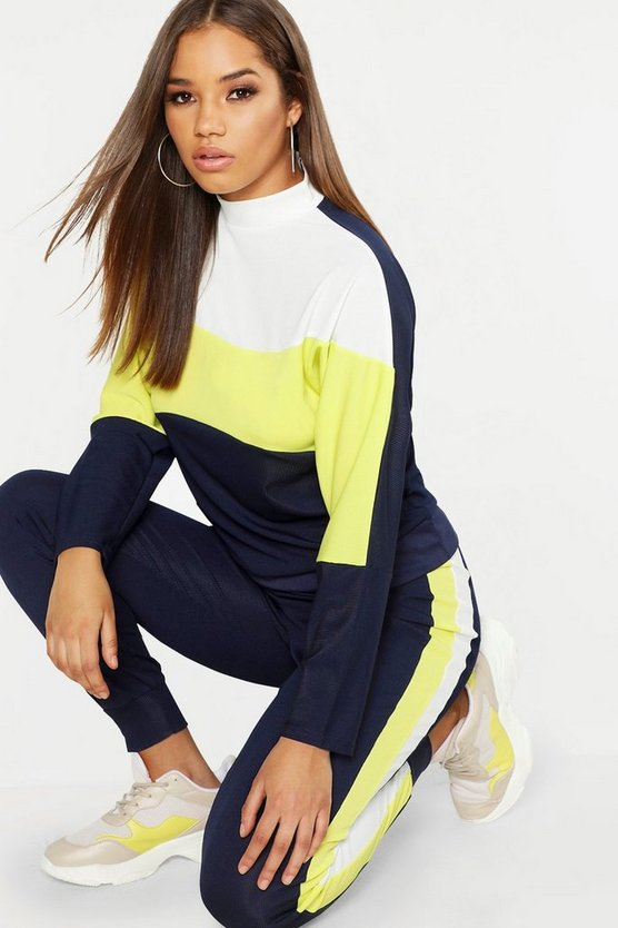 Neon Contrast Panel High Neck Sweater