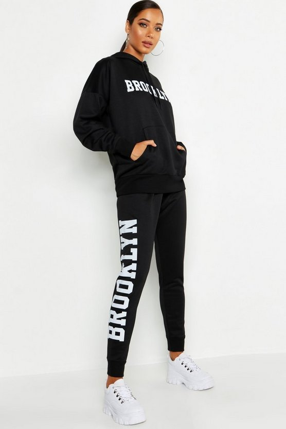 Womens Black Brooklyn Side Slogan Jogger