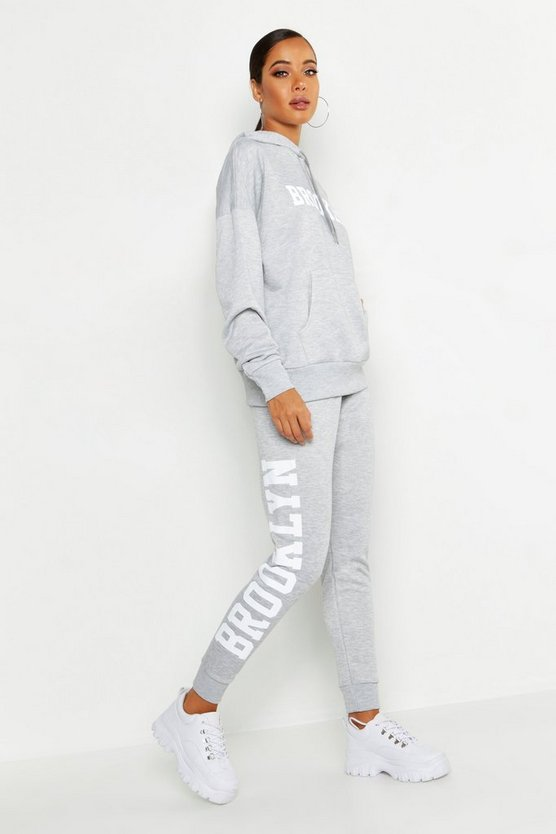 Womens Grey Brooklyn Side Slogan Jogger