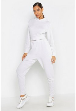 Womens Silver Shimmer Fabric Hooded Tracksuit