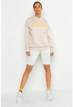 Womens Ecru Los Angeles Slogan Hoody