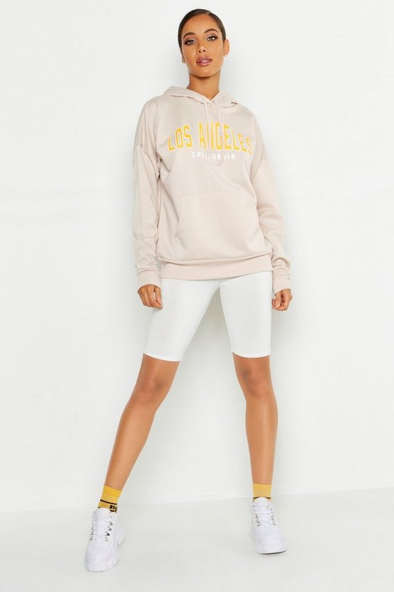 Hoodie mit Los Angeles Slogan, Naturfarben, Damen