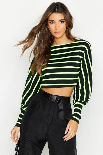 Womens Black Neon Stripe Off The Shoulder Sweat
