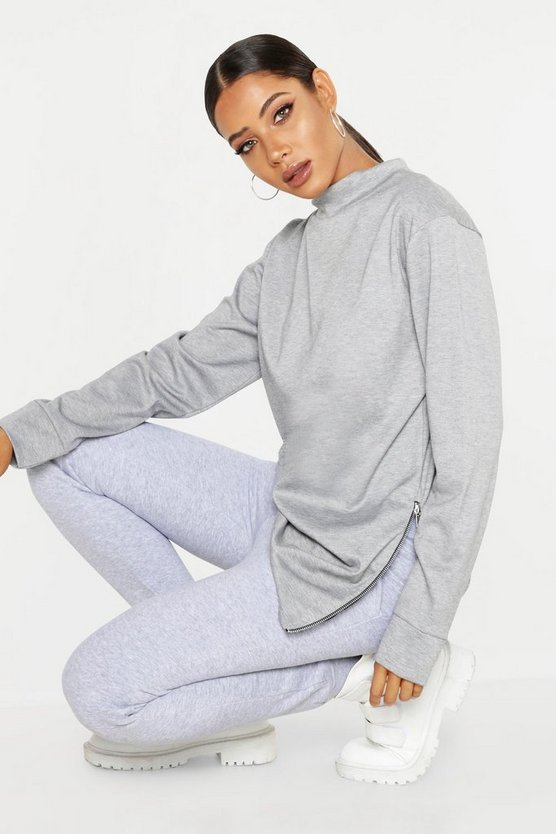 Womens Grey Zip Detail High Neck Sweat