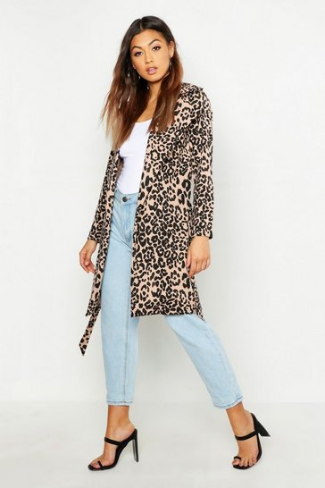 Womens Animal Leopard Print Belted Duster