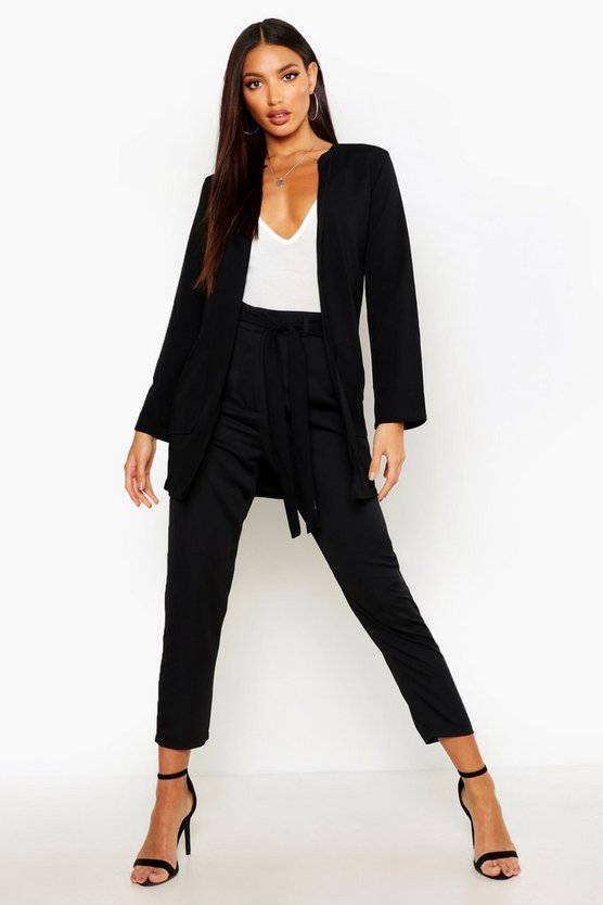 Collarless Pocket Detail Duster Jacket