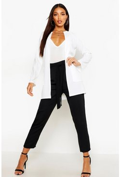 Ivory Collarless Pocket Detail Duster Jacket