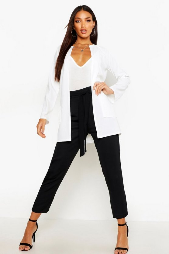 Womens Ivory Collarless Pocket Detail Duster Jacket