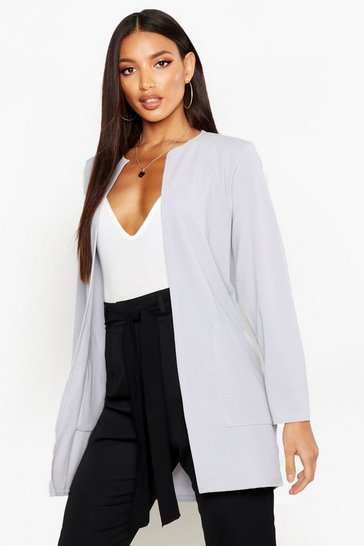 Womens Sky Collarless Pocket Detail Duster Jacket