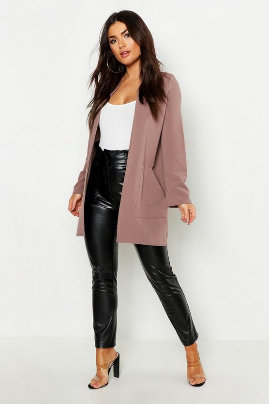 Womens Taupe Collarless Pocket Detail Duster Jacket
