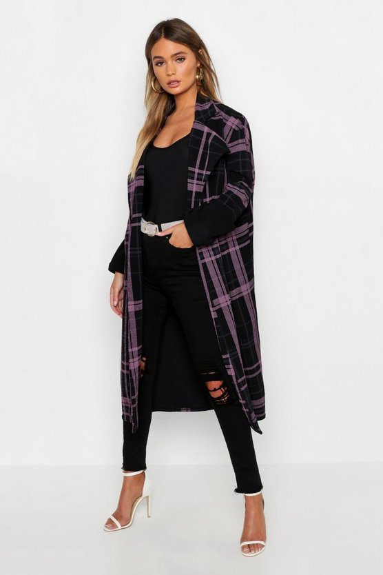 Womens Purple Check Maxi Duster