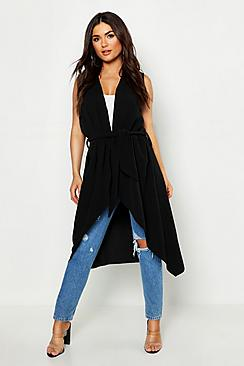 Waterfall Belted Sleeveless Duster