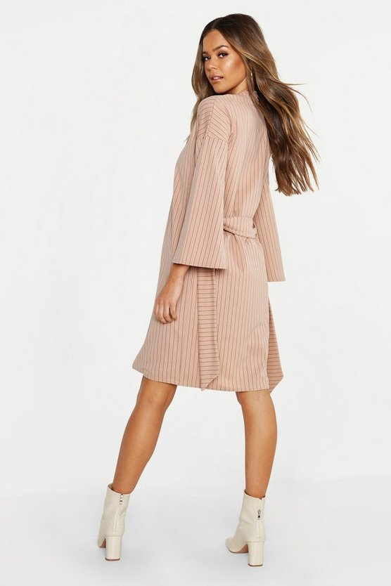 Womens Stone Wide Sleeve Belted Pinstripe Duster