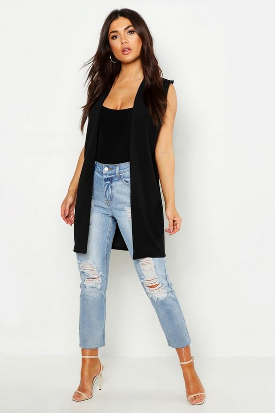 Womens Black Sleeveless Duster Jacket