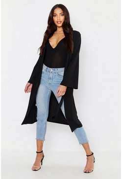Womens Black Ruched Duster Coat