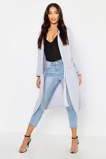 Womens Grey Ruched Duster Coat