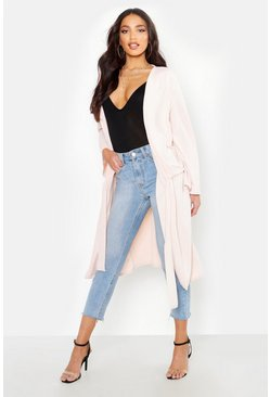Womens Stone Ruched Duster Coat