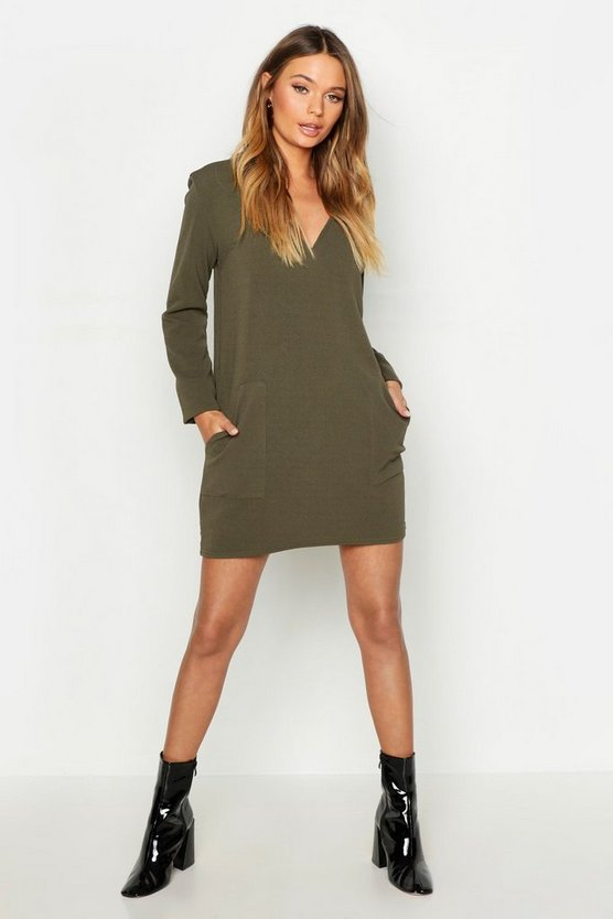Womens Khaki Pocket Detail V-Neck Mini Dress