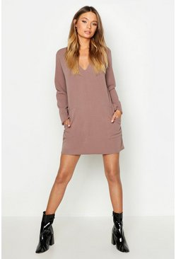 Taupe Pocket Detail V-Neck Mini Dress