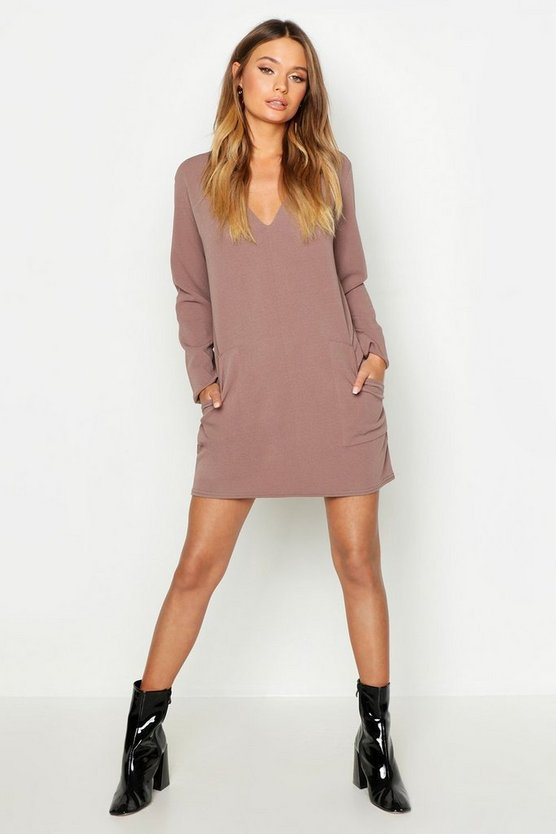 Womens Taupe Pocket Detail V-Neck Mini Dress
