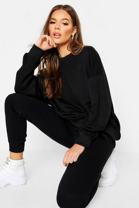 Womens Black Oversized Seam Detail Sweat