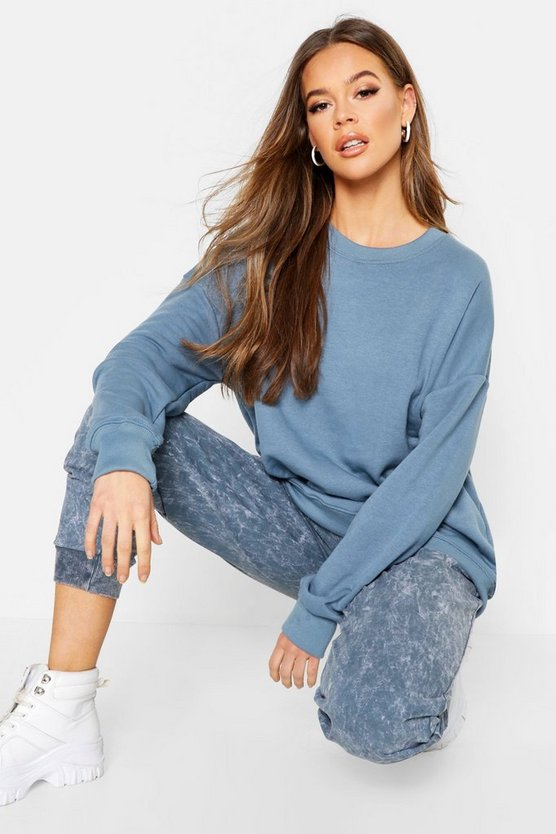 Womens Denim-blue Oversized Seam Detail Sweat