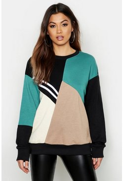 Womens Black Colour Block Sweat