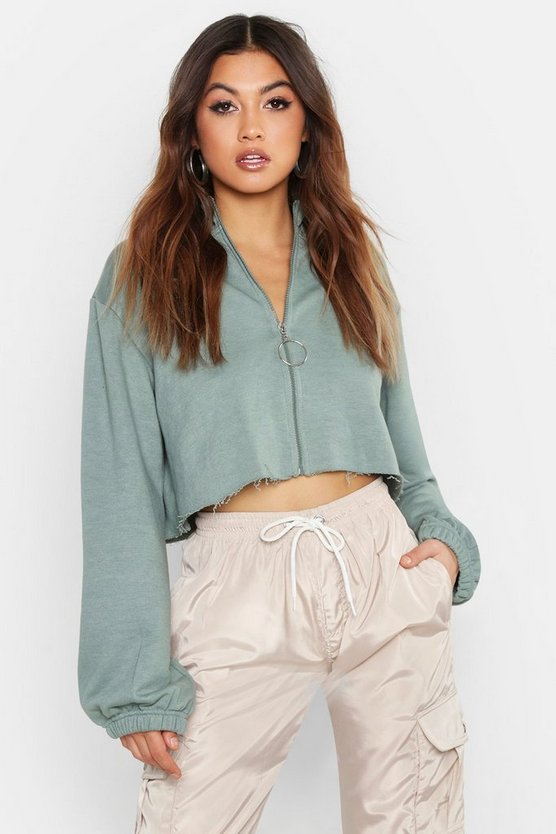 Womens Sage Raw Edge O Ring Cropped Sweat