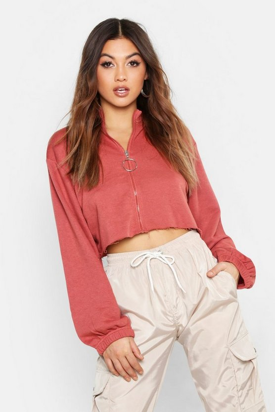 Womens Terracotta Raw Edge O Ring Cropped Sweat