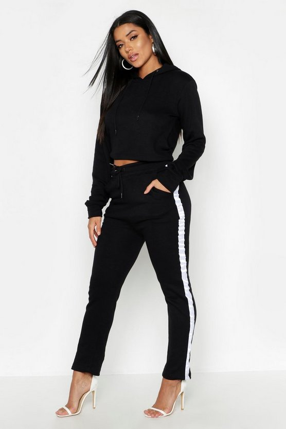 Womens Black Cropped Oversized Hoody And Side Stripe Panel Tracksuit