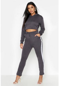 Womens Charcoal Cropped Oversized Hoody And Side Stripe Panel Tracksuit