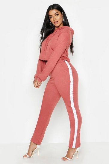 Womens Terracotta Cropped Oversized Hoody And Side Stripe Panel Tracksuit
