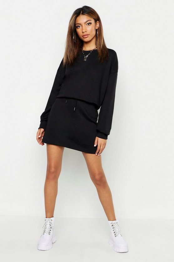 Womens Black Oversized Sweat And Mini Skirt Set