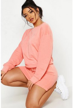 Womens Coral Oversized Sweat And Mini Skirt Set