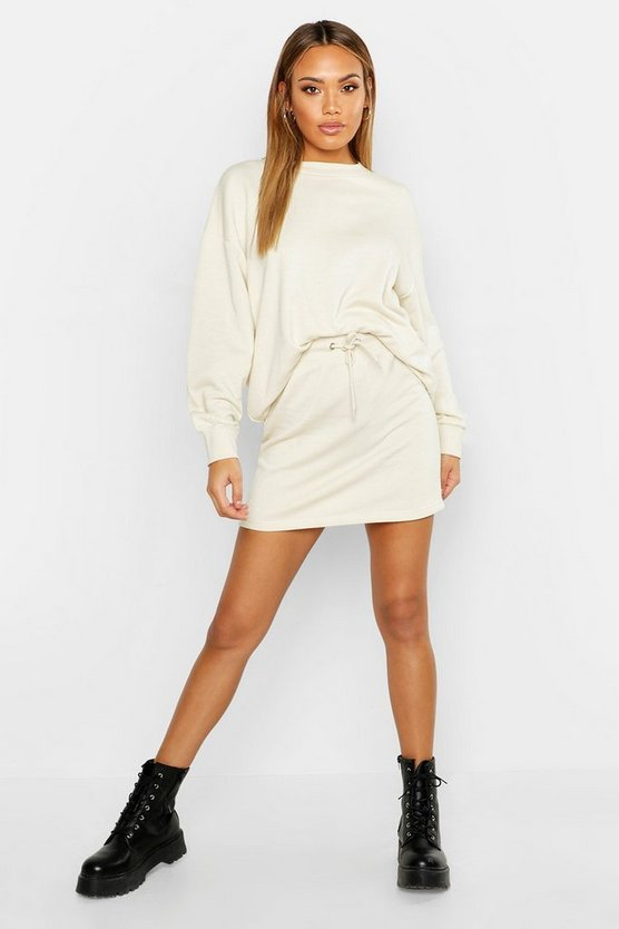Ecru Oversized Sweat And Mini Skirt Set