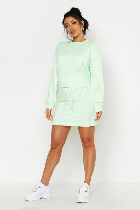 Womens Washed lime Oversized Sweat And Mini Skirt Set