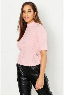 Womens Soft pink Funnel Neck O Ring Top