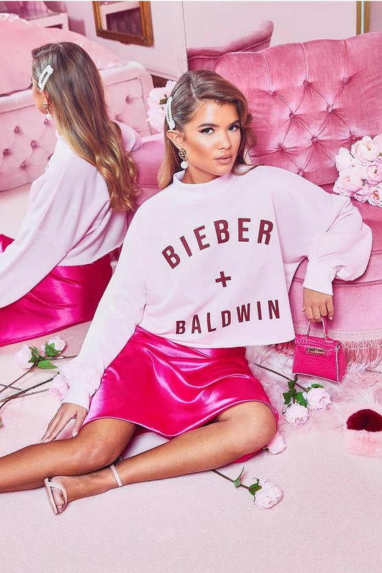 Womens Pink Bieber And Baldwin Slogan High Neck Sweat