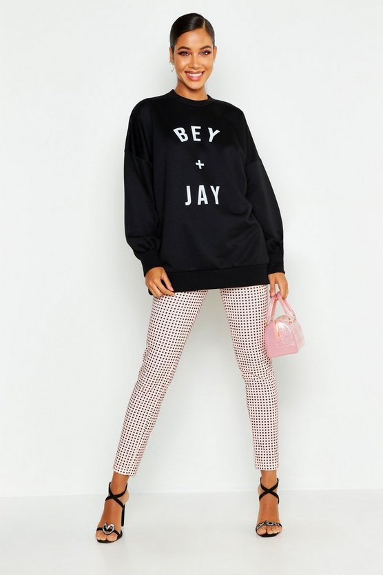 Sweatshirt mit Bey and Jay Slogan, Schwarz, DAMEN