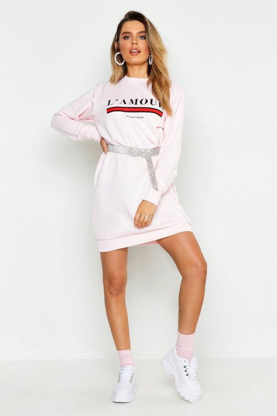 Pink L'amour Slogan Sweat Dress