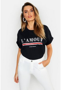 Womens Black L'amour Slogan T-Shirt