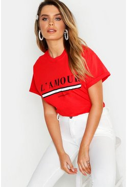 "Red ""L'amour"" t-shirt med slogan"