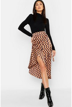 Womens Camel Geo Print Satin Wrap Midaxi Skirt