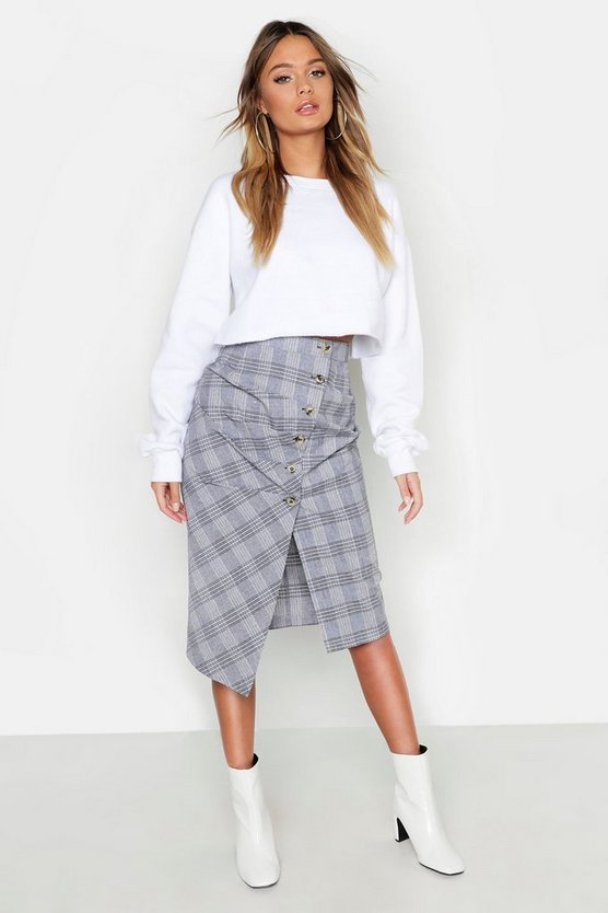 Womens Grey Check Button Ruched Wrap Midi