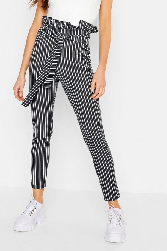 Womens Black Paper Bag Tie Waist Stripe Trousers