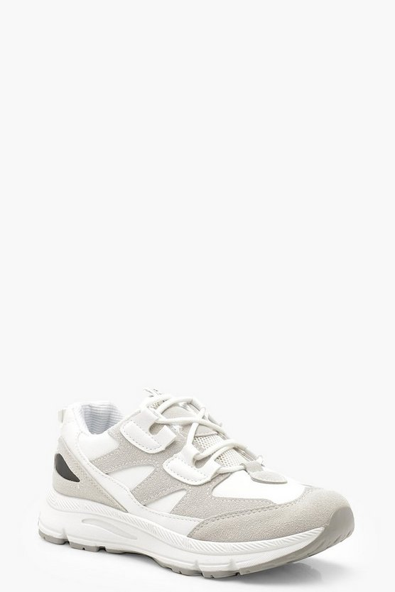 Womens White Lace Up Sports Trainers