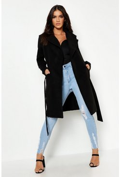 Womens Black Belted Wool Look Coat